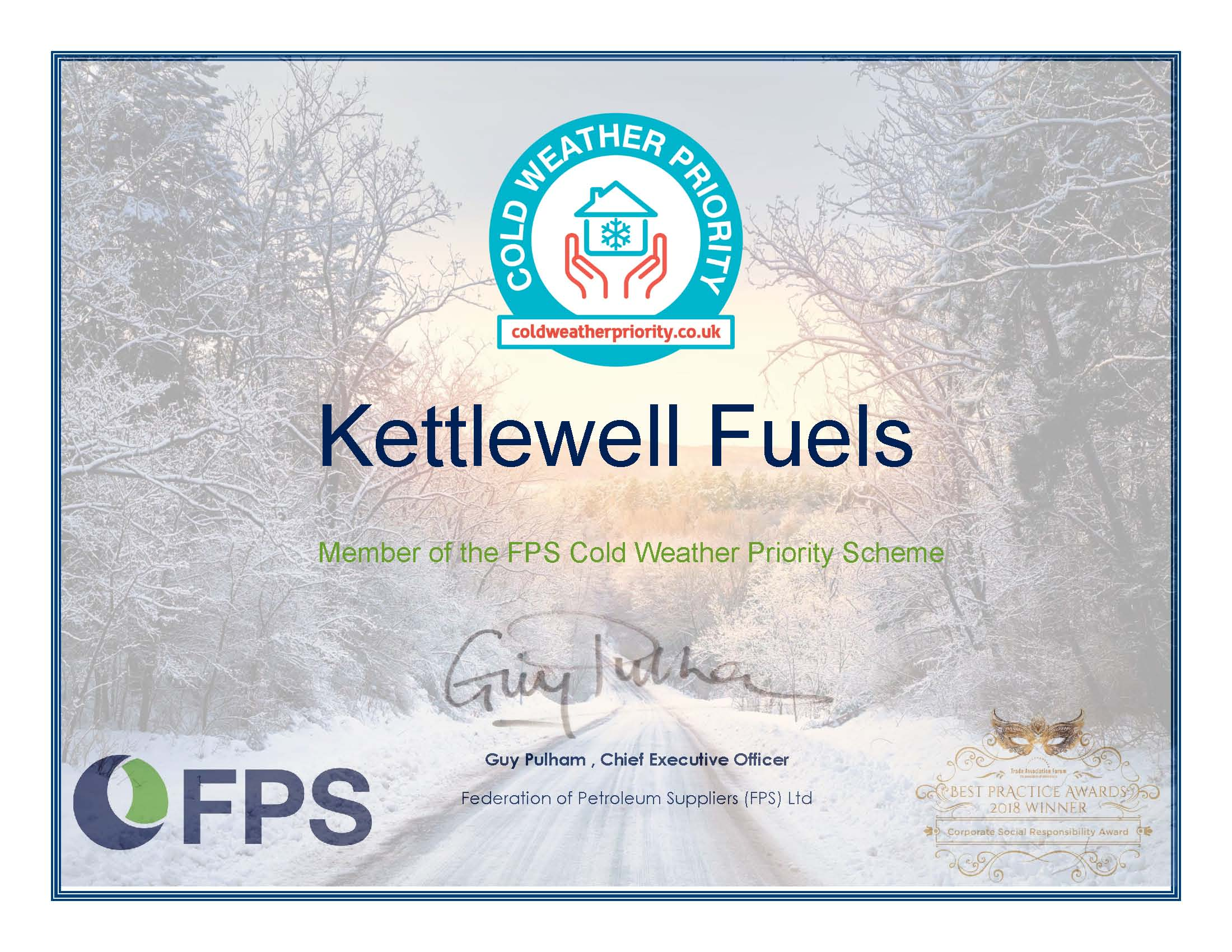 Kettlewell Fuels Cold Weather Priority Scheme